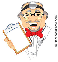 Doctor - Old doctor in uniform with stethoscope on...