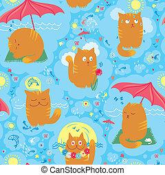 Seamless Pattern - Cute Summer Cats