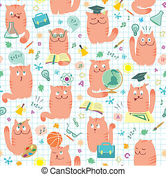 Seamless Pattern - Pink Cats And Sc - Vector seamless...