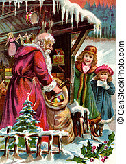 Vintage Christmas card of Santa Claus delivering gifts to...