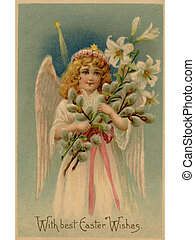 A vintage Easter postcard of an angel holding lilies