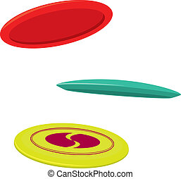 Three Disc Golf Discs - Three typical disc golf drivers in...