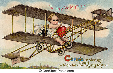 A vintage Valentine card with cupid flying an airplane with...