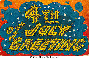 4th of July vintage postcard with fireworks