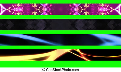Lower Thirds Green Screen X24 - Four Looping Abstract Green...