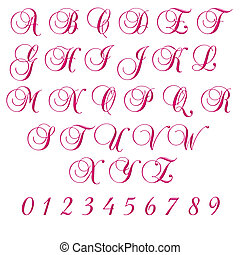 Hot Pink Uppercase Script Letters - uppercase alphabet