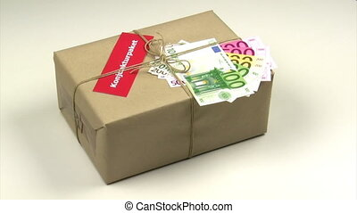 European stimulus package - Brown package with Euro notes...