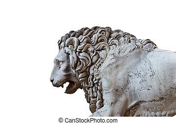 Llion near Palazzo Vecchio in Florence. Italy. Europe.
