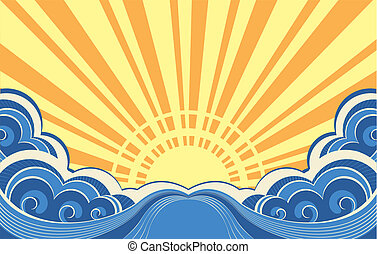 Abstract sea waves. Vector illustration of seascape...