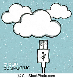 Cloud computing concept illustration, usb cabel and clouds icons. Vector, EPS10