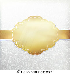 Vintage white invitation with golden label Vector, EPS 10
