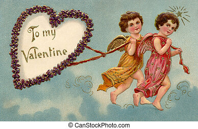 A vintage To My Valentine card with two cherubs pulling a...