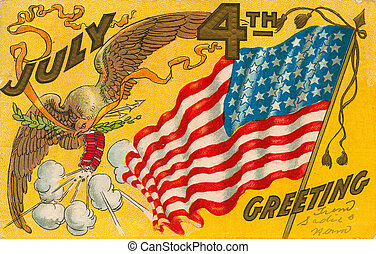 fourth of july postcard with an eagle and flag