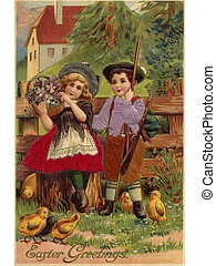 A vintage Easter postcard of a little boy and girl...