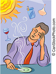 Illustration about migraine triggers showing a man with...