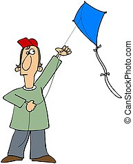 Boy flying a kite - This illustration depicts a boy flying a...