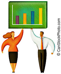Illustration of two people standing under a chart