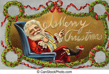 Vintage Christmas card of Santa Claus sitting in a chair and...
