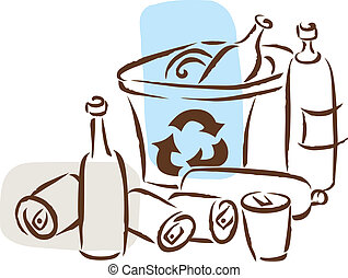 The recycling of cans and bottles