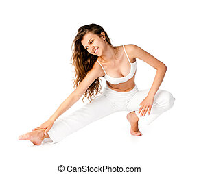 young woman doing fitness exercises on a white background