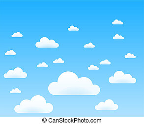 Cloud Storage - Illustration of white clouds on blue sky...