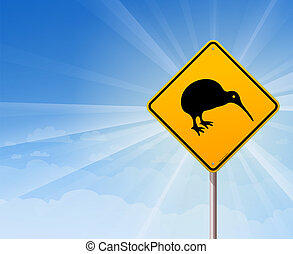 Kiwi Bird Yellow Sign on Blue