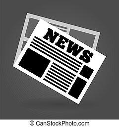 News Icon - Simple illustrated newspaper symbol on black...