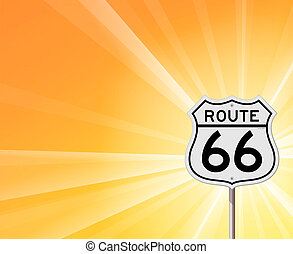 Route 66 Sign and Sunshine - Illustration of original Route...
