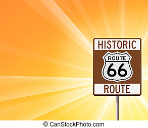 Historic Route 66 on Yellow - Classic brown roadsign on...