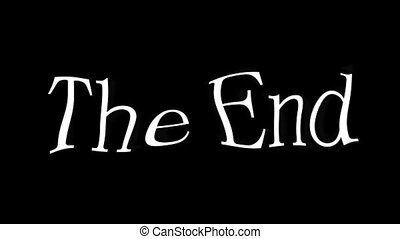 The End Text Animation Black and White
