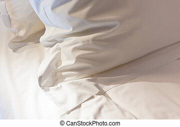 Bed with fresh linen - Night scene in bedroom: prepared...
