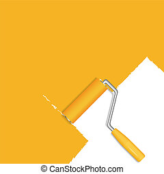 Orange background with paint roller, vector eps10...