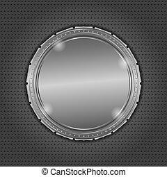 Round metal board on dark background