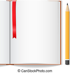 Open book with bookmark and pencil