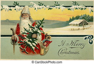 Vintage Christmas card of Santa Claus in a snowy winter...