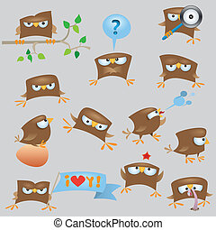 Set of cartoon funny sparrow