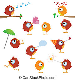 Canaries bird set - Funny cartoon canaries bird set