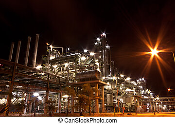 technology - petrochemical plant at night time