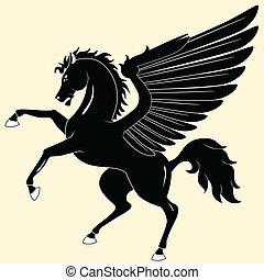 Pegasus - Silhouette of  black Pegasus