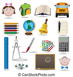 School and education vector icon set for web design
