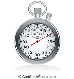 Mechanic chromed stopwatch on white background