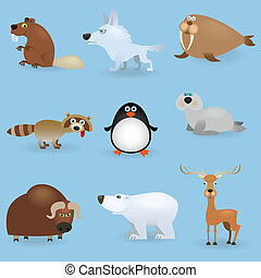 Wild animals set #3 (North) - Wild cartoon animals set #3...