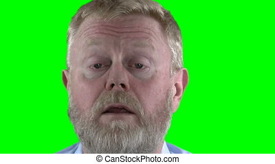 Poem - Bearded man declaiming a poem over greenscreen