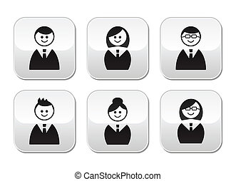 Users icons - glossy buttons set - Office staff icons: man,...