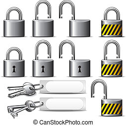 Padlock and Key Steel - A set of Padlocks and Keys in Steel...
