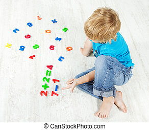 criança, resolva, matemática, exemplo, olhar,...