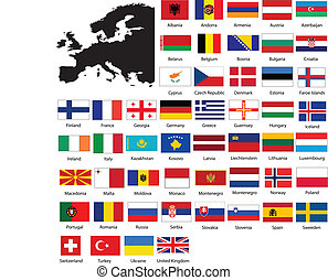 European flags and map