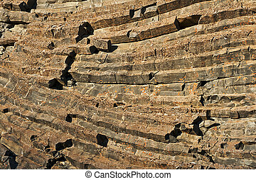 Basalt column - Natural background of hexagonal basalt...
