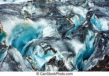 Glacier - Detailed photo of the Icelandic glacier ice with a...