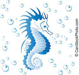 Seahorse with bubbles isolated on white - vector...